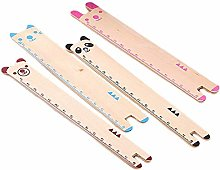 Ogquaton 4 Pcs Cute Animal Pattern Wooden Rulers