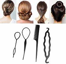 Ogquaton 4 Pcs Hair Twist Styling Clip Stick Bun