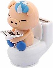 Ogquaton Lovely Cartoon Pig On The Toilet Solar