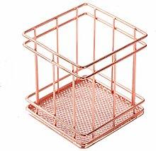 Ogquaton Metal Storage Basket Rose Gold Square