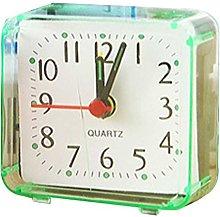 Ogquaton Square Small Bed Alarm Clock Transparent