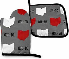 Oh-Io State Gray Oven Mitt Cooking Gloves and Pot
