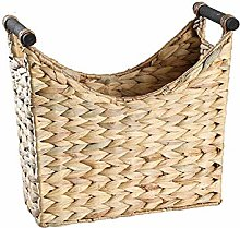 OH Straw Magazine Basket with Wooden Handle