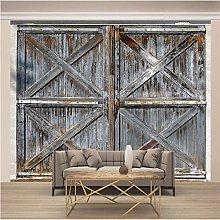 OHEHE 3D Photo Wallpaper Dilapidated Wooden Door