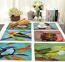 Oil painting bird print Cotton Linen Placemats Set