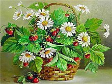 Oil Painting Number - Flower Basket with White
