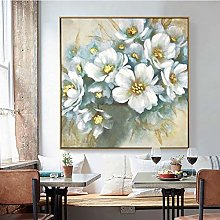 Oil Painting On Canvas,Abstract White Floral Art