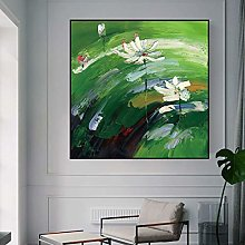 Oil Painting On Canvas,Abstract White Lotus Flower