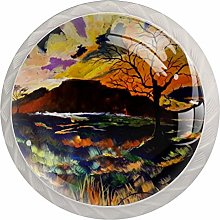 Oil Painting Tree 4PCS Drawer Knobs,Cabinet