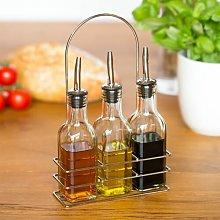 Oil/Vinegar Utensil Bottle Set With Stand 6 oz.