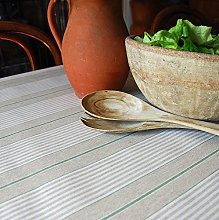 Oilcloth Table Fabric French Green Harbour Stripe