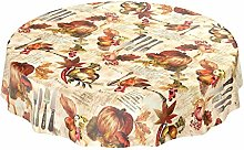 Oilcloth wipeable round tablecloth with cutlery,