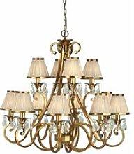Oksana chandelier, antique brass, crystal drops,