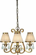 Oksana chandelier, antique brass, crystal drops, 3