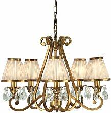 Oksana chandelier, antique brass, crystal drops, 5