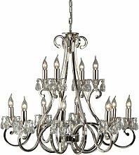 Oksana chandelier, polished nickel, crystal