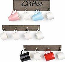Olakee Coffee Mug Holder, Rustic Mug Rack Wall