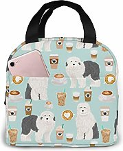 Old English Sheepdogs Coffees Fabric Lunch Bags