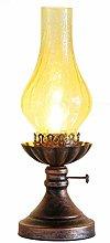 Old-fashioned kerosene lamp, tea room, tea table,