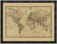 Old Folding Maps - Map of the World 1861 Vintage
