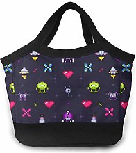 Old Games Retro Gaming Pixels Black Lunch Bag Tote