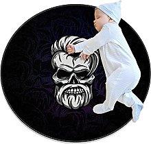 Old skeleton man, Kids Round Rug Polyester Throw