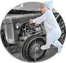 Old tractor, Round Area Rug Pattern Round Children