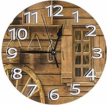 Old Wheel Next to Rustic Wooden House Wall Clock