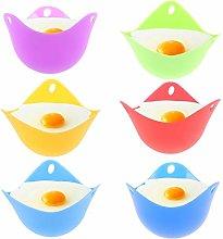 Olgaa 6 Colors Silicone Egg Poacher Cups Non-stick