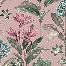 Oliana Pink Wallpaper Green Blue Teal Floral