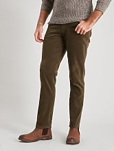 Olive Green Corduroy Slim Fit Trousers With