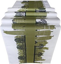 OLIVE GREEN HOUSES TABLE RUNNER by MollyMac Green