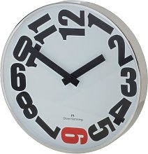 Oliver Hemming Six Wall Clock, Old Red