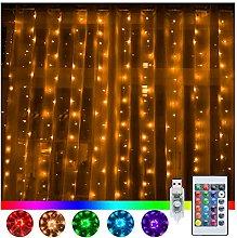 Ollny Halloween Curtain Lights Orange & Purple, 3m