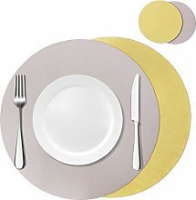 Olrla Dual-Sided Round Faux Leather Table Mats and