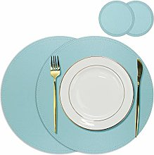 Olrla Faux Leather Dining Mats, 2 Placemats 33cm
