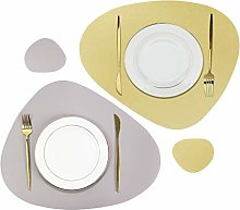 Olrla PU Leather Placemat and Coaster Set of 2,