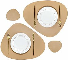 Olrla PU Leather Placemats and Coasters Set, 2