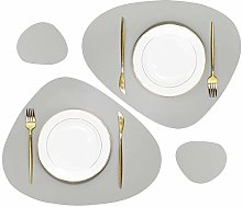 Olrla PU Leather Placemats and Coasters Set,2