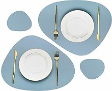 Olrla PU Oval Leather Table Mats Set, 2 Placemats