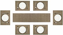 Olrla PVC Placemats and Table Runner Set, 6Pcs