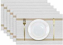 Olrla PVC Placemats Set of 6, 30x45cm Washable