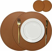 Olrla Round Faux Leather Placemats and Coasters,