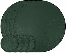 Olrla Round Pu Leather Placemats and Coasters,