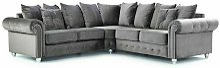 Olympia Velvet Corner Sofa with Cushions in Grey