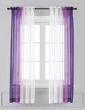 Ombre Sheer Curtains - Faux Linen Gradient Semi