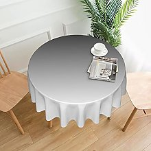 Ombre White To Black Print Round Tablecloth