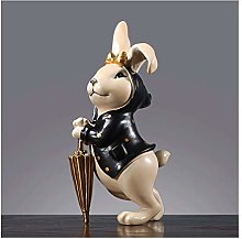 OMING Statues Cute Bunny Rabbit Family Resin