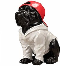 OMING Statues Dog Decoration with Red Hat Creative