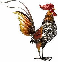 OMING Statues Wrought Iron Rooster Decoration